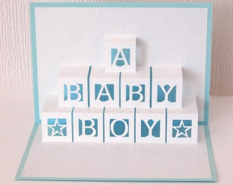 Baby Boy Card Pop Up Bricks 3D - Blue envelope