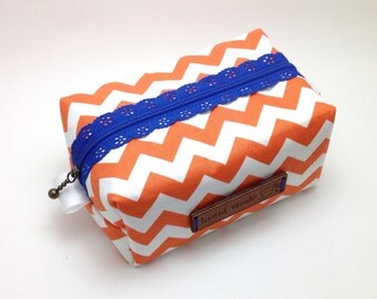 Orange Chevron Bag. Chevron Cosmetic Bag. Cosmetic Case. Box Make up Bag. Fabric Make up Case. Bridesmaids Gift. Boxy Pouch.