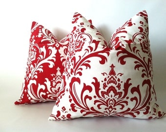 Christmas Pillow Covers - 20 x 20. Set of Two. Modern Red Damask Cushion Covers, Elegant Pillows, Christmas Decor, Cushions, Scroll Pillows