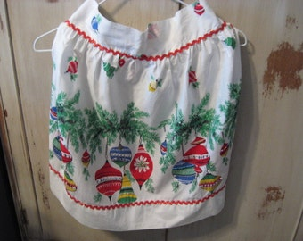 Cute Vintage Red and White Christmas Beaded Ornament Apron