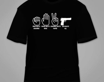 Rock, Paper, Scissors, Gun T-Shirt. Funny Novelty T Shirt Clothing Pro Gun Rights 2nd Amendment Constitution Nerdy Geeky Gag Gift Awesome