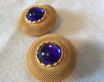 Goldtone and Deep Blue Cabochon Disc Earrings