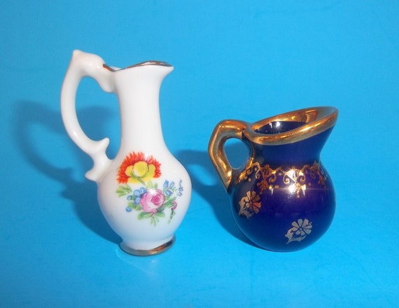 limoges miniature pitchers france vintage cobalt blue gilded. Black Bedroom Furniture Sets. Home Design Ideas
