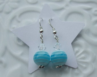 Blue Stripe Sterling Silver earrings