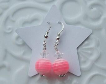 Pink Stripe Sterling Silver earrings