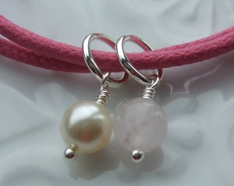 Rose Quartz and Swarovski Pearl Sterling Silver Friendship Bracelet