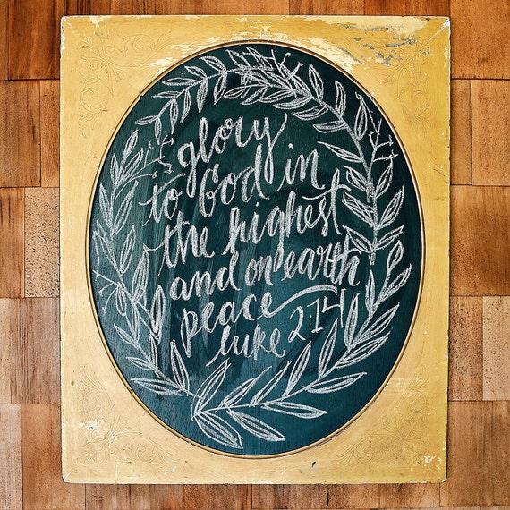 Rustic Christmas decor, bible verse chalkboard, scripture sign, Peace on earth, Luke 2:14, gold, vintage holiday wall art, keepsake