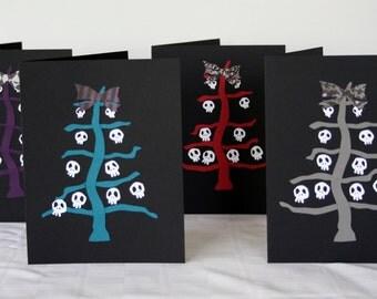 Goth Christmas Card Skeleton Tree Set of 12