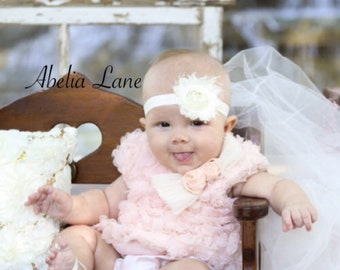 baby headband,cream headband,photo prop,cream color headband,headband,newborn headband,christening headbands,shabby chic headbands,baby