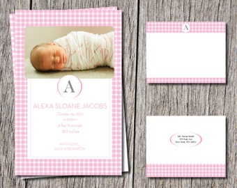 Elegant Baby Girl gingham Birth Announcements