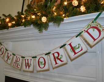 Joy to the World Banner, Christmas Banner, Christmas Garland, Christmas decor, Musical Christmas, antique Christmas banner