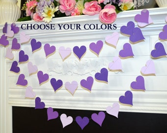 Purple heart Garland, Heart Garland, Wedding Decorations violet hearts birthday party decor, bridal shower decor, party garlands, photo prop