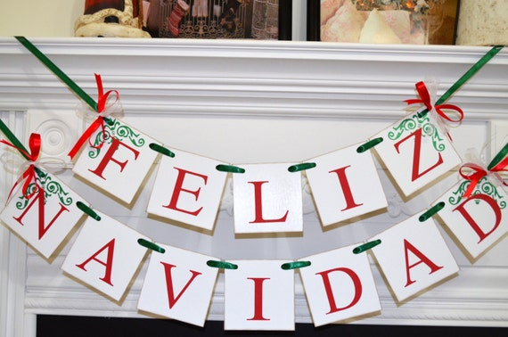 Feliz Navidad Banner, Christmas Banner, Spanish Christmas Decoration, Christmas Garland Bunting, Holiday Garland, Merry Christmas banner