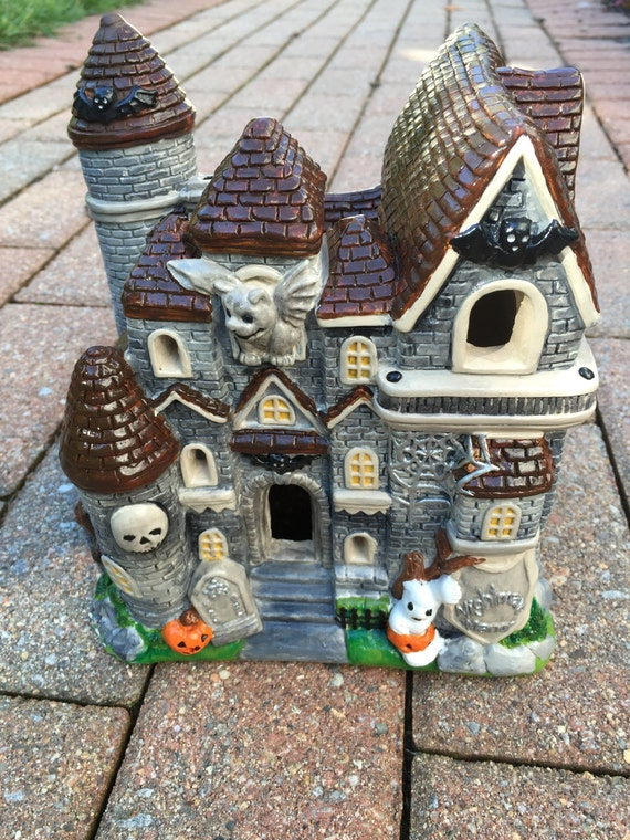 Items similar to halloween haunted house ceramic painted for Ceramic house paint