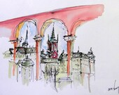 Watercolor sketch of Stockholm, Sweden (2013). Easy Watercolor Graphics gel pen and watercolor.