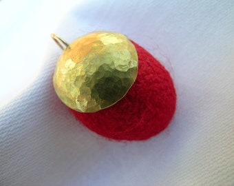 Crimson cocoon pendant: hand crafted hammered brass dome and hand dyed silk cocoon mixed media pendant 3cm x 2cm x 2cm