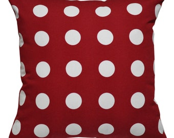 Polka Dot Red Cushion Cover. Pillow Cover.
