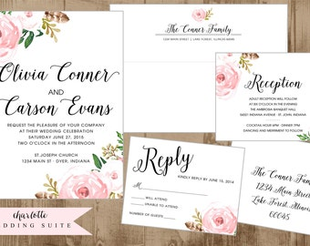 Printable Wedding Suite Invitation - Reply card - Reception Card - Envelope Templates Vintage Blush Flowers soft pink floral