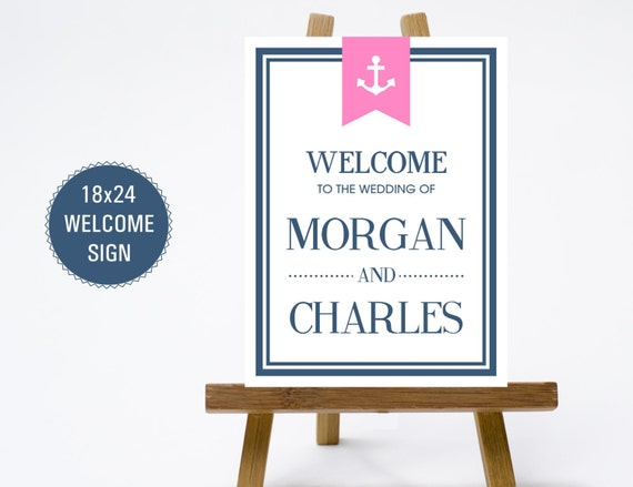 PRINTABLE 18x24 Wedding Welcome Sign - Print Poster Board - Modern Clean Fonts - Navy Pink Preppy Nautical Anchor