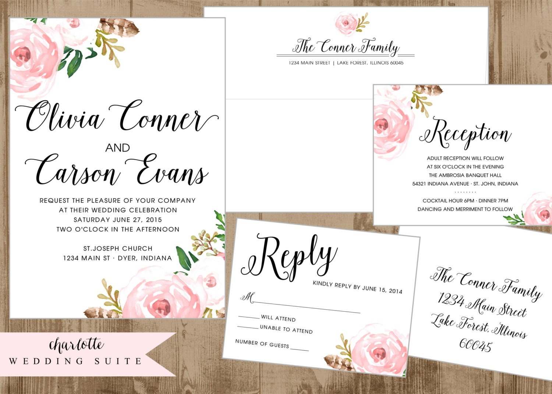Wedding Reception Invite: Printable Wedding Suite Invitation Reply Card Reception