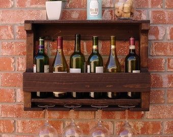 Rustic 6 Bottle Wine Rack with 4 Glass Slot Holder and Top Shelf
