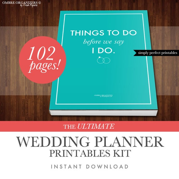 wedding planner kit pdf digital printables