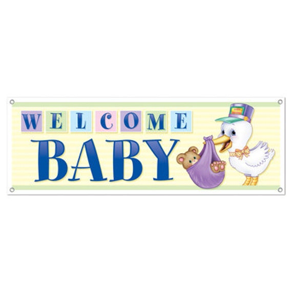 Welcome baby banner party supplies decorations by bigcatcrafts for Welcome home decorations for baby