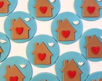 House Cupcake Toppers - Fondant