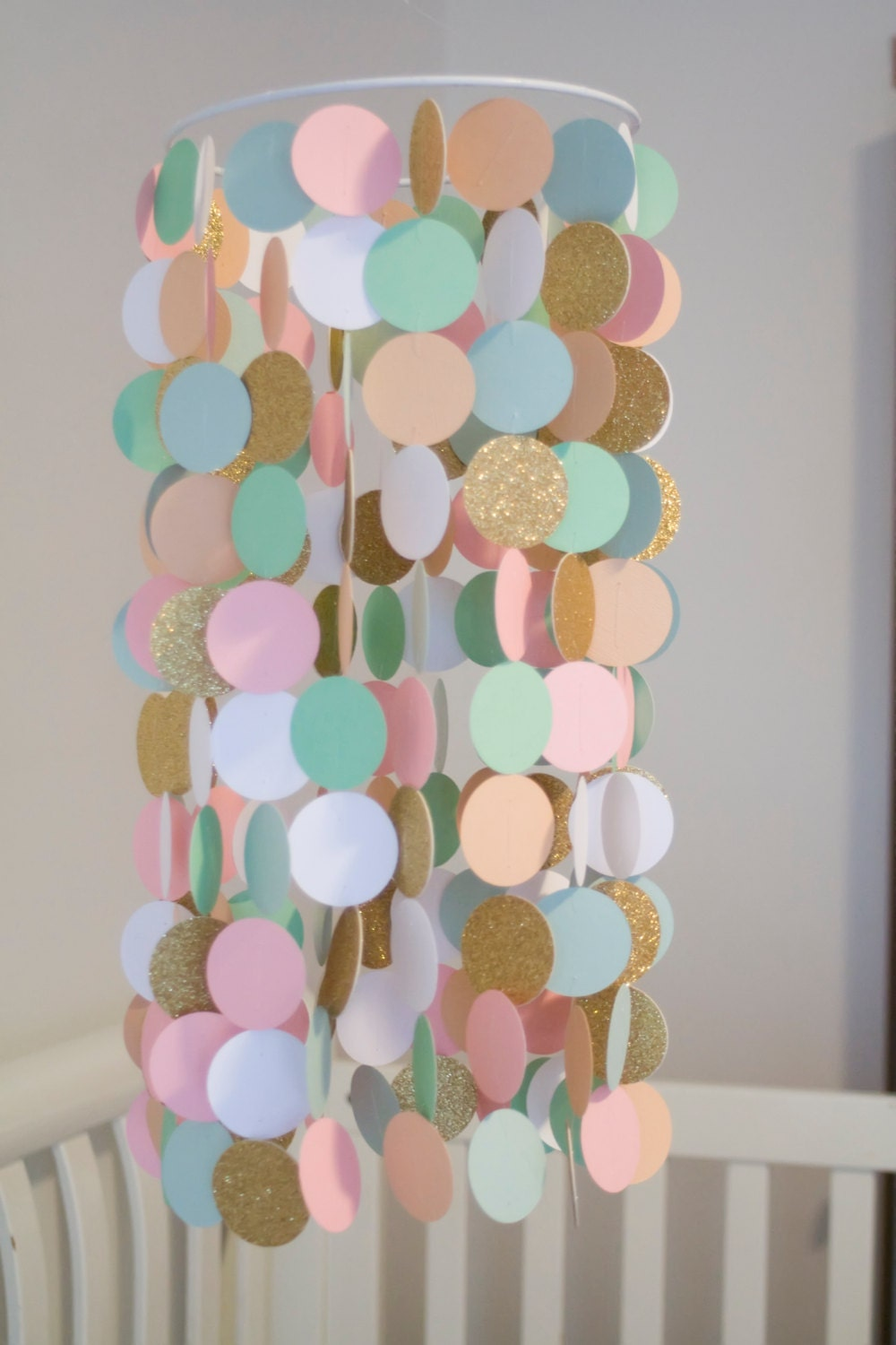 Mint Peach Pink White And Gold Paper Crib Mobile Modern