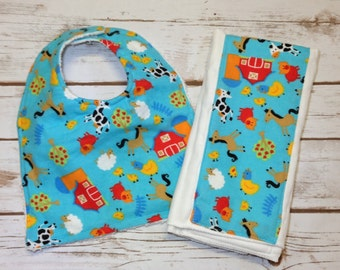 Flannel Farm Bib and Burp Cloth Set - plain or can be monogrammed