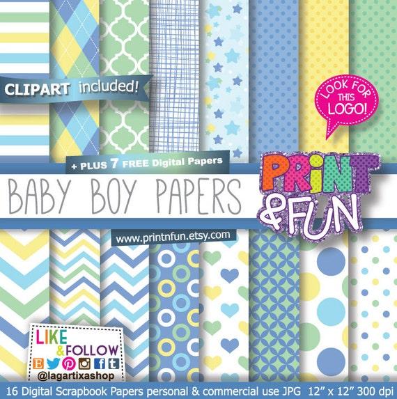 Fondos Digitales Papel Bebé niño Baby shower Bautizo por Printnfun