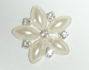 10 x Diamante and Pearl Flower Flat Back Embellishment, Wholesale Rhinestone Diamante Wedding Brooch Bouquet DIY Craft Supplies (BN3214)
