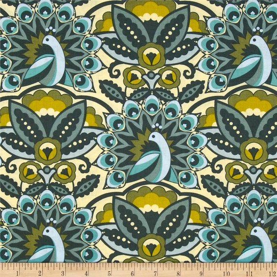 Fancy Green Vintage Style Peacock fabric by the yardfor