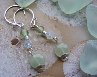Aventurine and Sterling Dangle Earrings