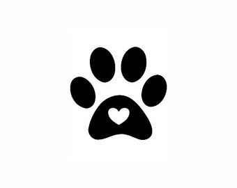 "Paw Print Stamp, mini rubber stamp, dog paw stamp, cat paw stamp, paw print with love heart, pet owner gift, love pets, 0.8""x0.8"" (minis12)"