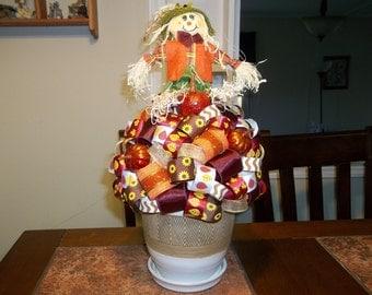 Scarecrow/Autumn Ribbon Topiary Table Centerpiece
