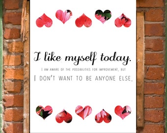Self Love Acceptance Cute Inspirational Positive Affirmation Digital Art Print Wall Decor INSTANT DOWNLOAD