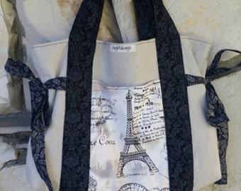 Burlap and black, Paris tote bag