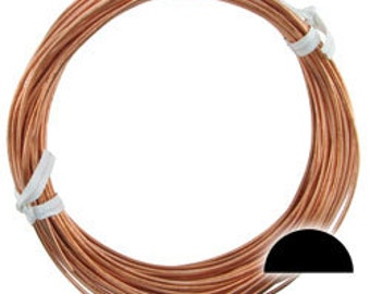 Copper Wire Half Round 16ga 1.30mm Soft (Approx. 67ft)  (CHRW16)