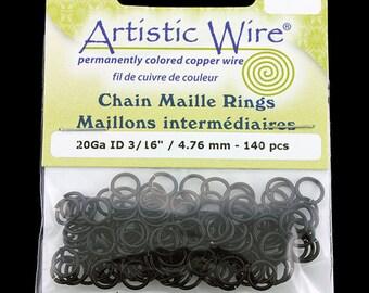 "Artistic Wire Black Jump Ring 4.7mm ID (3/16"") 20ga (pkg/140)  (900AWB-17)"