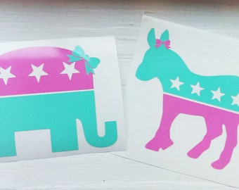 Patriotic Republican Elephant Democrat Donkey Preppy Decal