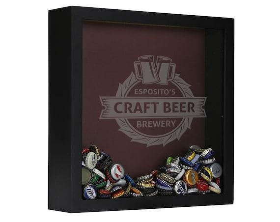 Personalized beer cap shadow box craft beer beer cap shadow for Craft beer typography beer cap shadow box beer cap collector