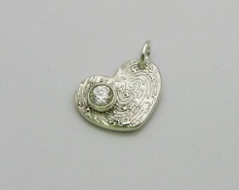 Fingerprint Jewelry, Fingerprint Charm, Birthstone Jewelry, Birthstone Charm, Heart Fingerprint Charm, Birthstone Heart, Personalized Charm