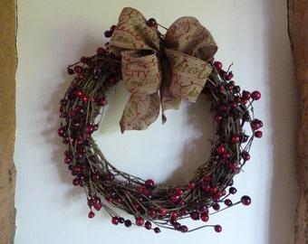 Berry wreath - vine wreath - Christmas wreath - xmas wreath - rustic wreath - natural wreath - red wreath - red berry wreath