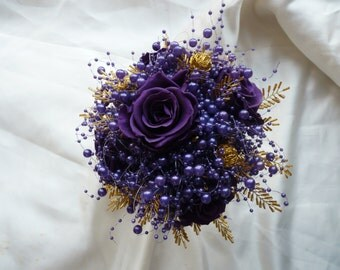 Purple and gold preserved rose bouquet with purple bubble pearls, gold wire balls and seed bead leaves, wedding bouquet, brides bouquet.