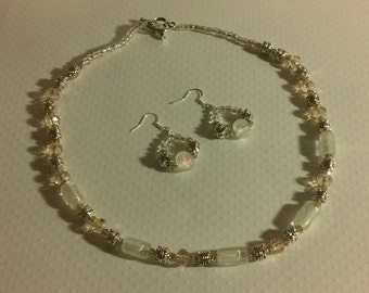 Swarovski Crystal Necklace and Earing Set with Antique Silver Beads  and  Antique Silver Toggle Clasp