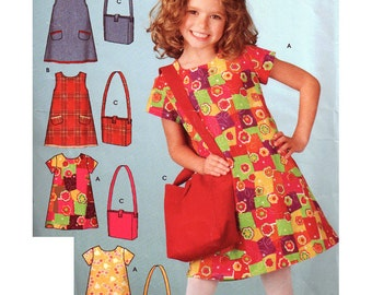 Simplicity Sewing Pattern 4927 Child's dress and bag  Size A 3-4-5-6-7-8  Used