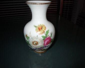 Vintage Amsbach Bavaria  five and half inch hand painted porcilain vessel