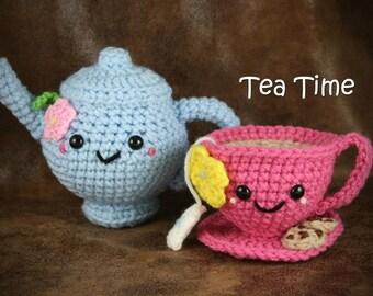 Tea Time Teapot and Teacup Set - pretend crochet tea set, tea party