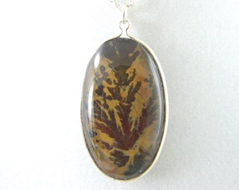 Plume Agate Stone Sterling Silver Necklace or Pendant 177